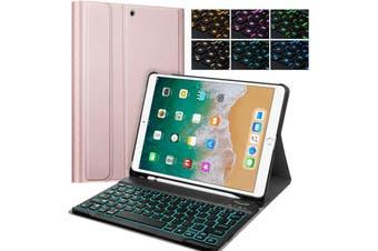 Backlit Bluetooth Keyboard Case For iPad10.2 2019 +Pencil Holder-Rose Gold