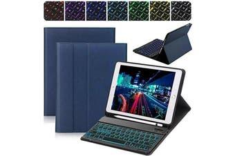 Backlit Bluetooth Keyboard Case For iPad 9.7 2018+Pencil Holder-Dark Blue