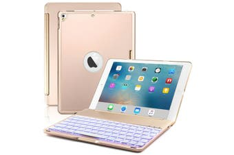 """Backlit Bluetooth Keyboard Folio Stand Case For 7th Gen 10.2"""" 2019-Gold"""