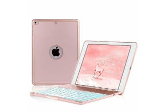 """Backlit Bluetooth Keyboard Folio Stand Case For iPad 9.7"""" 6th/5th Gen-Rose gold"""