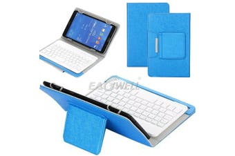 For Samsung Galaxy Tab A 8.0 2018 T387 Tablet Stand Case Bluetooth Keyboard Cover-Blue
