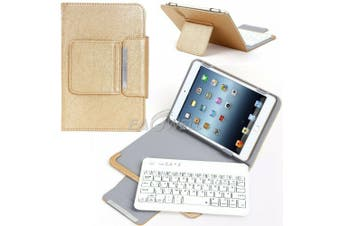 For Samsung Galaxy Tab A 8.0 2018 T387 Tablet Stand Case Bluetooth Keyboard Cover-Gold