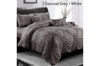 Diamond Embroidery Pintuck Pinch Pleated Duvet Doona Quilt Cover Set-King(Grey)