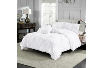 Diamond Embroidery Pintuck Pinch Pleated Duvet Doona Quilt Cover Set-Queen(White)