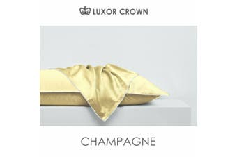 2x Mulberry Silk Standard Pillow Case Slip Genuine 25 Momme Silk Gift Box-Champange