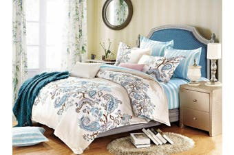 2020 New All Size Bed Doona Quilt Duvet Cover Set 100% Cotton Premium Bedding-Blue Paisley