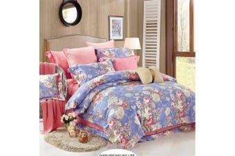 2020 New Single Size Bed Doona Quilt Duvet Cover Set 100% Cotton Premium Bedding-Flora Blue