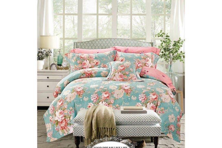 2020 New All Size Bed Doona Quilt Duvet Cover Set 100% Cotton Premium Bedding-Flora Green