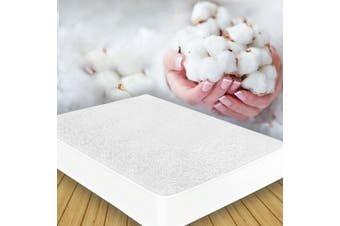 All Size Fully Fitted Waterproof Cotton Bamboo Fibre Mattress Protector Cover-TerryCotton-KingSingle