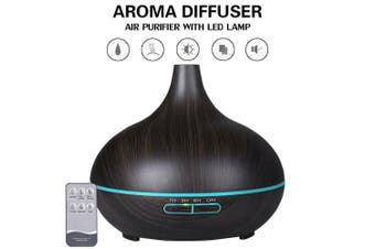 Aroma Aromatherapy Diffuser LED Essential Oil Ultrasonic Air Humidifier Purifier-Dark Wood
