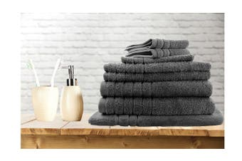 7 Pieces Bath Towels Set Egyptian Cotton 620GSM Spa Quality -Charcoal