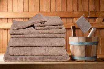 7 Pieces Bath Towels Set Egyptian Cotton 620GSM Spa Quality -Latte Ribbon
