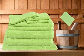 7 Pieces Bath Towels Set Egyptian Cotton 620GSM Spa Quality -Lime Ribbon