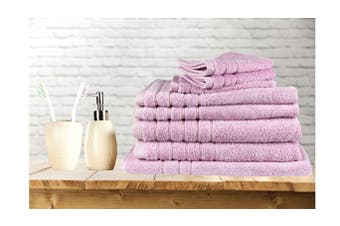 7 Pieces Bath Towels Set Egyptian Cotton 620GSM Spa Quality -Pink