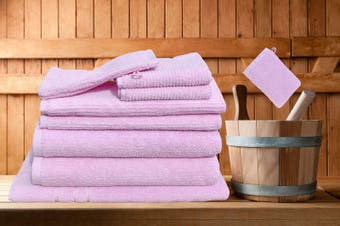 7 Pieces Bath Towels Set Egyptian Cotton 620GSM Spa Quality -Pink Ribbon