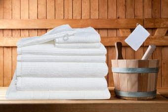 7 Pieces Bath Towels Set Egyptian Cotton 620GSM Spa Quality -White Ribbon