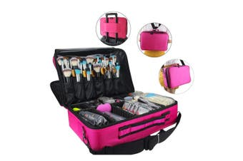 Portable Makeup Bag Cosmetic Make up Case Storage Box Travel Size L-Rose Red