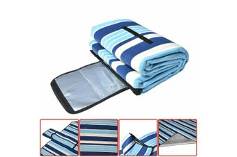 Large 3-Layers Soft Picnic Blanket Rug Waterproof Mat Camping Beach 2mX 2m-Blue Striped