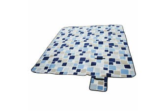 Large 3-Layers Soft Picnic Blanket Rug Waterproof Mat Camping Beach 2mX 2m-Blue grid