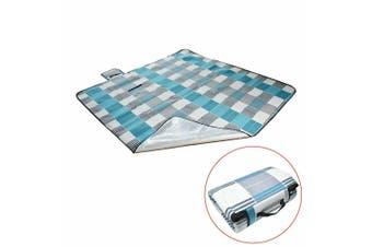 Large 3-Layers Soft Picnic Blanket Rug Waterproof Mat Camping Beach 2mX 2m-Blue & Grey