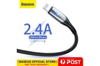 0.5M Baseus Lightning Cable Fast Charging Charger Cord for iPhone XS XR 8 7 6 iPad Black