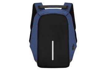 Anti-theft Mens Womens USB Charging Backpack Laptop Notebook Travel School Bag-Blue