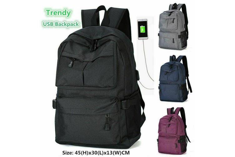Men's USB Backpack Women Shoulder Laptop School Bag Travel Luggage Rucksack AU-Blue