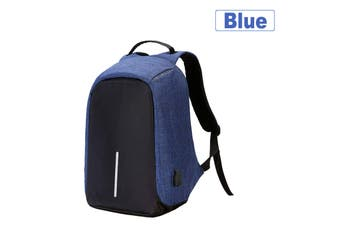 Anti Theft Backpack Waterproof Bag School Travel Laptop Bags + USB Charging Port-Blue