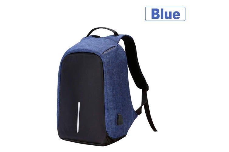 Anti Theft Backpack Waterproof Bag School Travel Laptop Bags + USB Charging Port-Blue