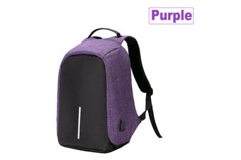 Anti Theft Backpack Waterproof Bag School Travel Laptop Bags + USB Charging Port-Purple