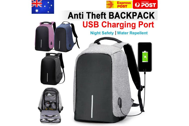 Anti Theft Backpack Waterproof Bag School Travel Laptop Bags + USB Charging Port-Purple