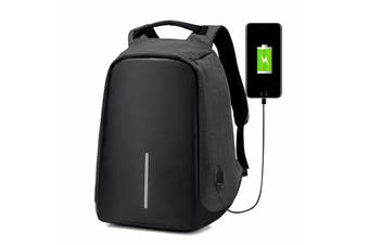 Anti-theft Unisex Laptop Backpack Travel School Bag+USB Charging Port Waterproof-Black