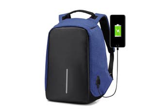 Anti-theft Unisex Laptop Backpack Travel School Bag+USB Charging Port Waterproof-Blue