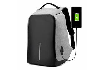 Anti-theft Unisex Laptop Backpack Travel School Bag+USB Charging Port Waterproof-Grey