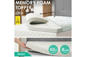 Bamboo Cover Memory Foam Mattress Topper Underlay All Size 8CM Pad Mat- Single