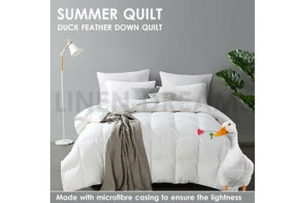 White Duck Down Feather Quilt Duvet Doona All Season Summer Winter King Single/200GSM