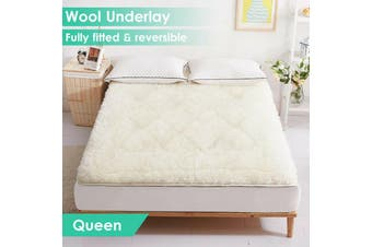Aus Made Reversible Wool Woollen Underlay Underblanket Topper Pad - Queen