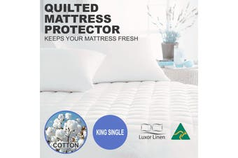Aus Made Fitted Cotton Cover Quilted Mattress Protector Topper Underlay - King Single