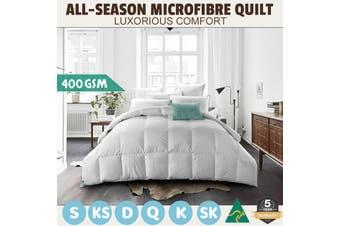 Wool/Bamboo/Duck Down Goose/Microfibre Quilt Doona Duvet Summer Winter - Double/400GSM Microfibre Quilt
