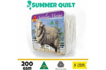 Wool/Bamboo/Duck Down Goose/Microfibre Quilt Doona Duvet Summer Winter - King/200GSM Merino Wool Quilt