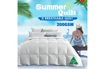 Wool/Bamboo/Duck Down Goose/Microfibre Quilt Doona Duvet Summer Winter - Queen/200GSM Microfibre Quilt