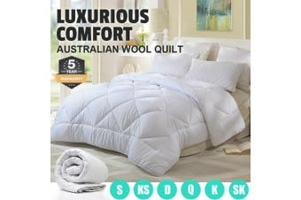 Wool/Bamboo/Duck Down Goose/Microfibre Quilt Doona Duvet Summer Winter - Queen/350GSM Wool Quilt