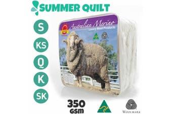 Wool/Bamboo/Duck Down Goose/Microfibre Quilt Doona Duvet Summer Winter - Single/350GSM Merino Wool Quilt