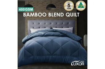 Wool/Bamboo/Duck Down Goose/Microfibre Quilt Doona Duvet Summer Winter - Super King/400GSM Bamboo Quilt (Blue)