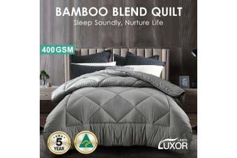 Wool/Bamboo/Duck Down Goose/Microfibre Quilt Doona Duvet Summer Winter - Super King/400GSM Bamboo Quilt (Grey)