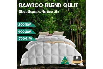 Wool/Bamboo/Duck Down Goose/Microfibre Quilt Doona Duvet Summer Winter - Super King/400GSM Bamboo Quilt (White)