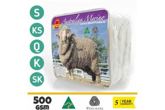 Wool/Bamboo/Duck Down Goose/Microfibre Quilt Doona Duvet Summer Winter - Super King/500GSM Merino Wool Quilt