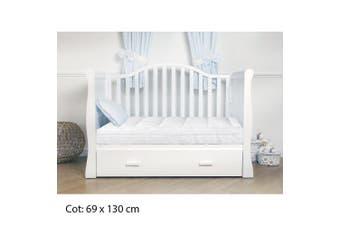 1000GSM Bamboo Fibre Pillowtop Mattress Topper Pad Cotton Top - Cot/ Cotbed