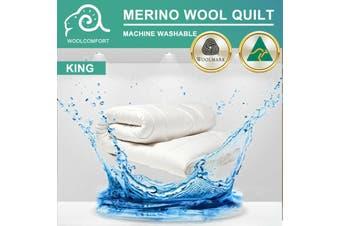 Aus Made MACHINE WASHABLE Wool Quilt Duvet Doona Blanket Summer Winter - King/350GSM (Machine Washable)