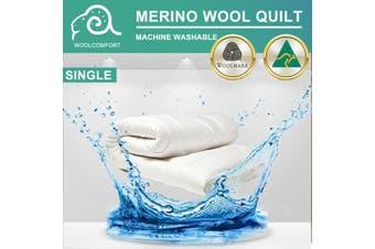 Aus Made MACHINE WASHABLE Wool Quilt Duvet Doona Blanket Summer Winter - Single/350GSM (Machine Washable)